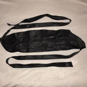 Black soft leather high waist wrap around belt